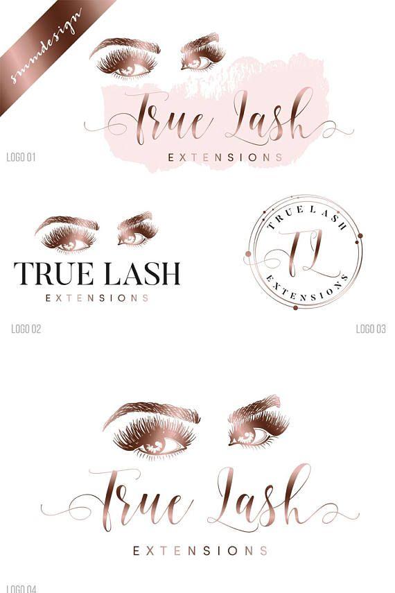 Lashes logo, Custom logo, makeup artist logo, premade branding kit, eyelashes logo design, rose gold beauty logo, makeup logo watermark 089 These logos are ...