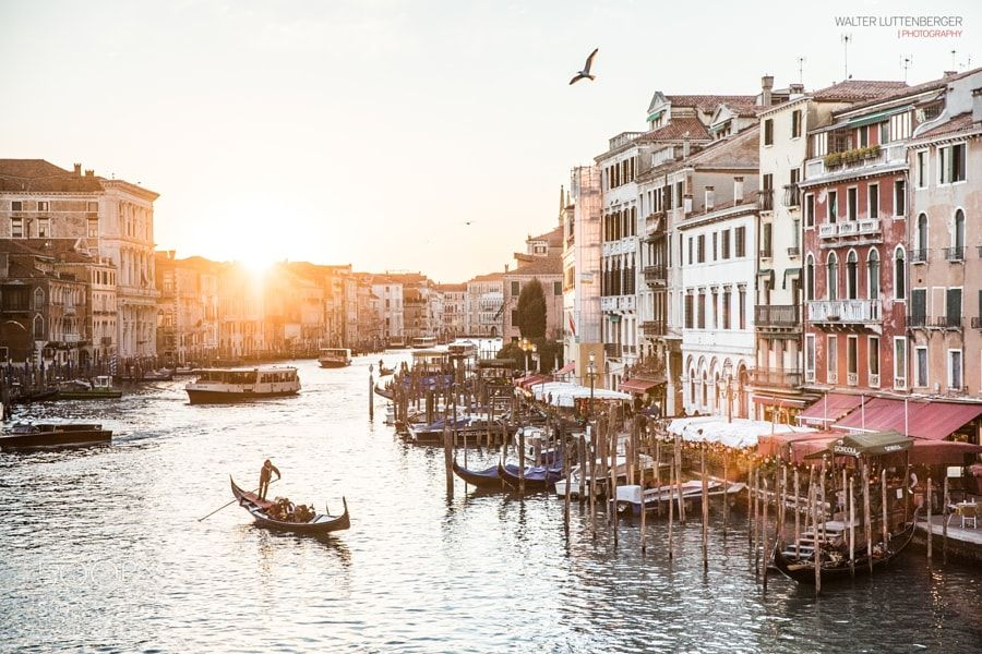 Sunset at Canal Grande by walterluttenberger
