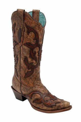 Women's Studded Overlay Cowgirl Boot Snip Toe - G1280