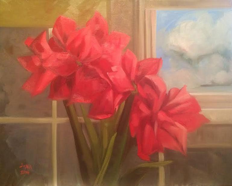 "Amaryllis Flowers and Window - oil on canvas, 16"" x 20"" by artist Elaine Juska Joseph"