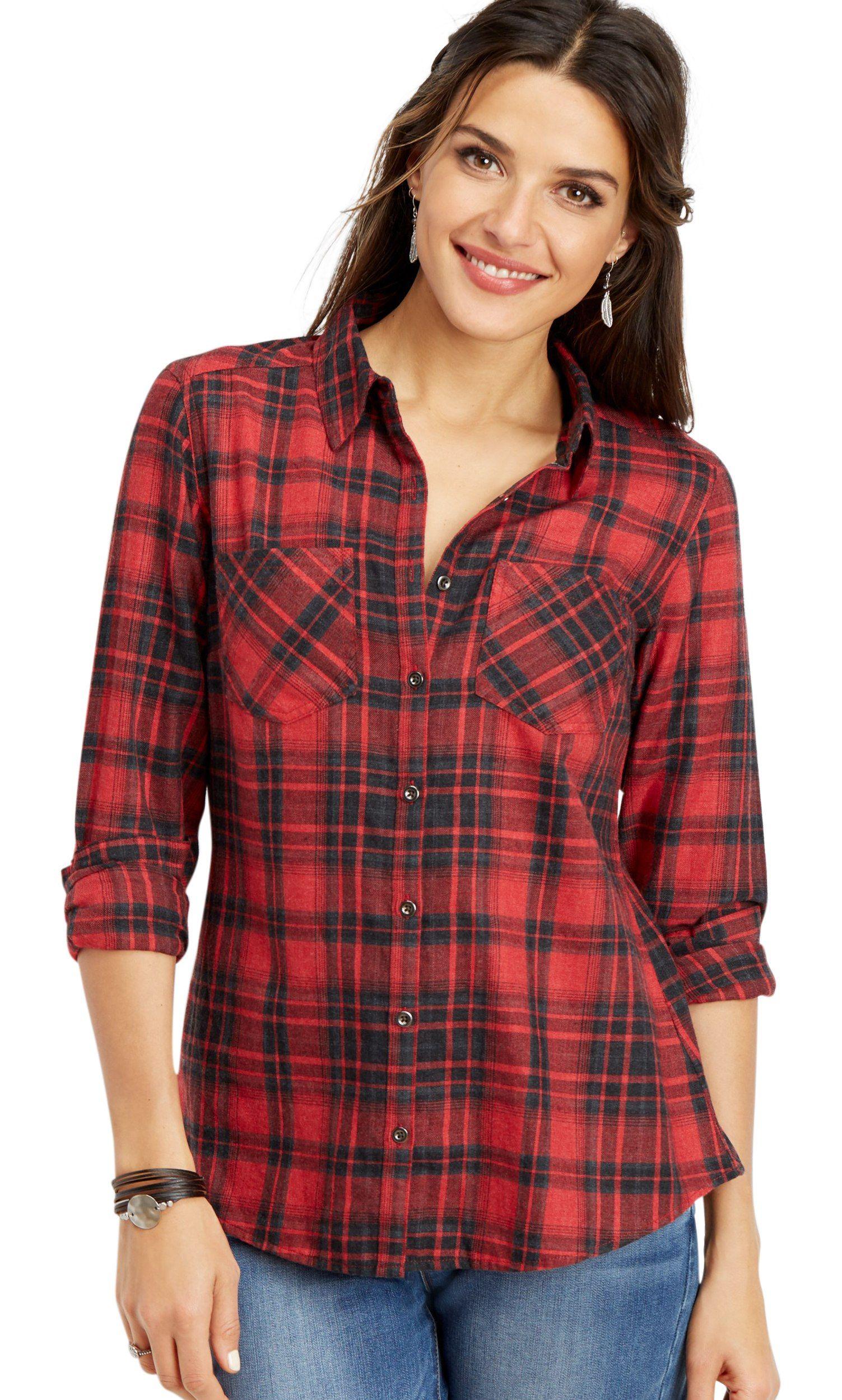 Plaid Button Down Shirt Walmart Com Shirts Plaid Plaid Button [ 2500 x 1503 Pixel ]