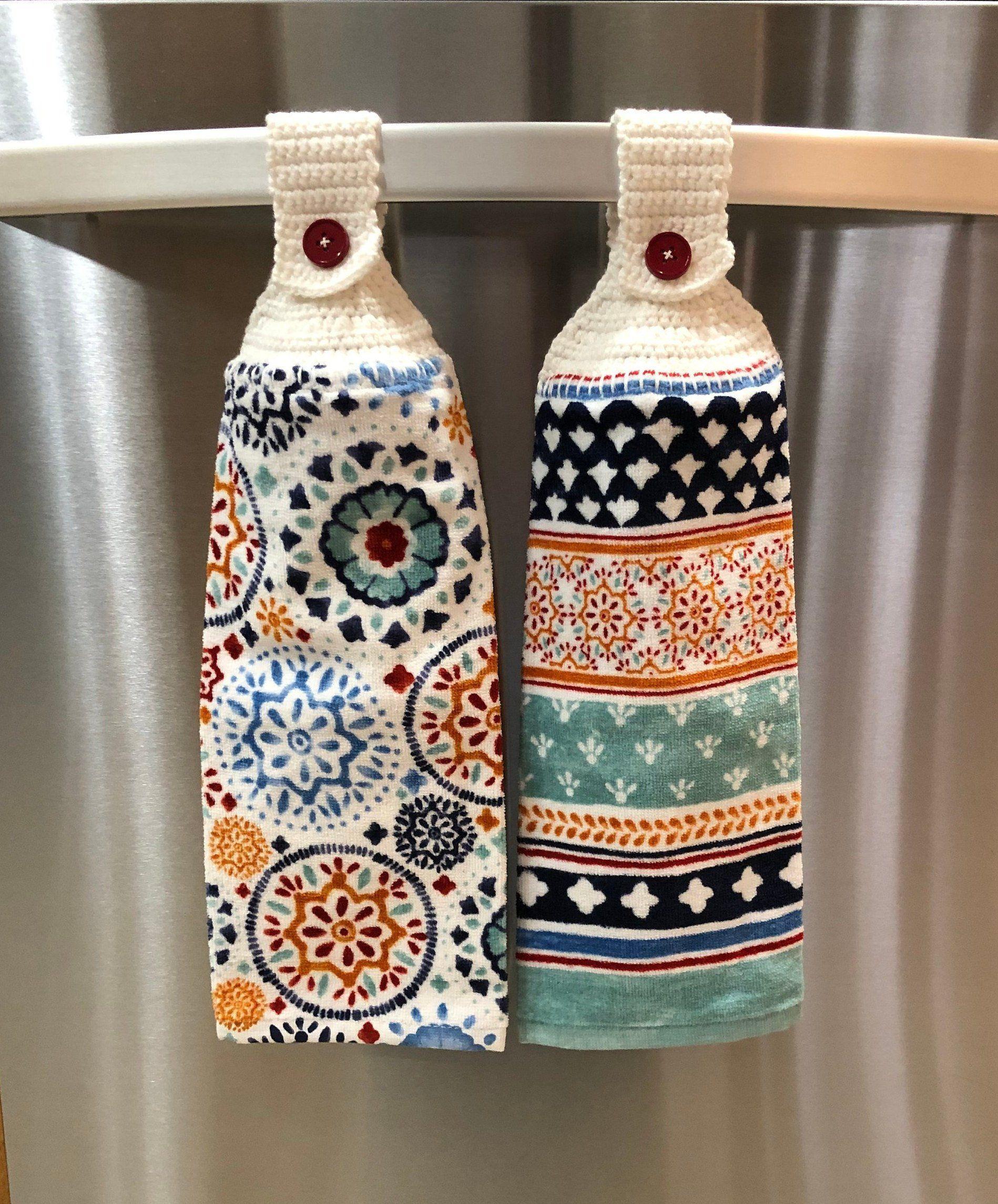 Crochet Top Kitchen Towel Set Hanging Kitchen Towel Set Button