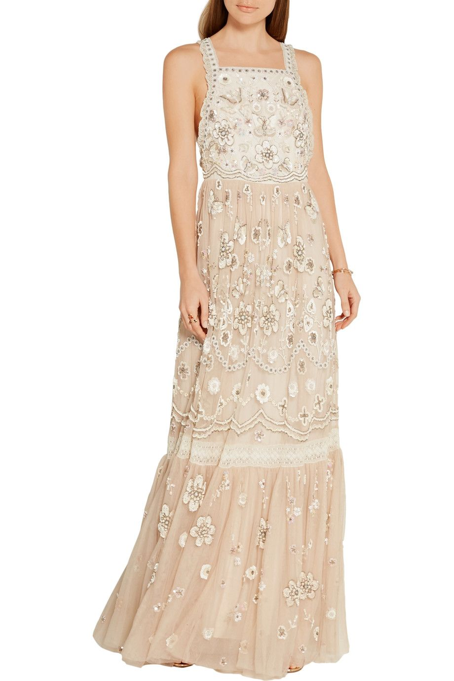 Shop on-sale Needle & Thread Lace-trimmed embellished tulle gown. Browse  other