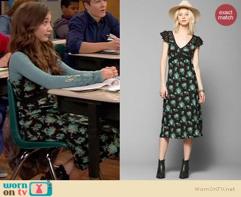 b1dbb151a18 Riley s black and blue floral midi dress on Girl Meets World. Outfit  Details  http