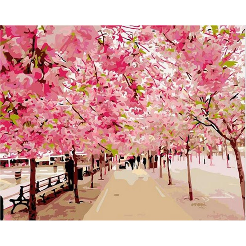 Diy Oil Painting By Numbers Canvas Pink Cherry Blossom Tree Coloring Paint Acrylic Painting Calligraphy Wall Hom Pretty Landscapes Paint By Number Diy Painting