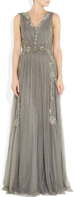 ALBERTA FERRETTI  Embroidered Tulle Gown  Alberta Ferretti gown: anthracite sheer tulle, floral embroidery and bead embellishment, V-neck, soft pleats throughout, internal slip, fully lined. Concealed zip fastening at side. 70% rayon, 30% polyamide; lining1: 100% polyamide; lining