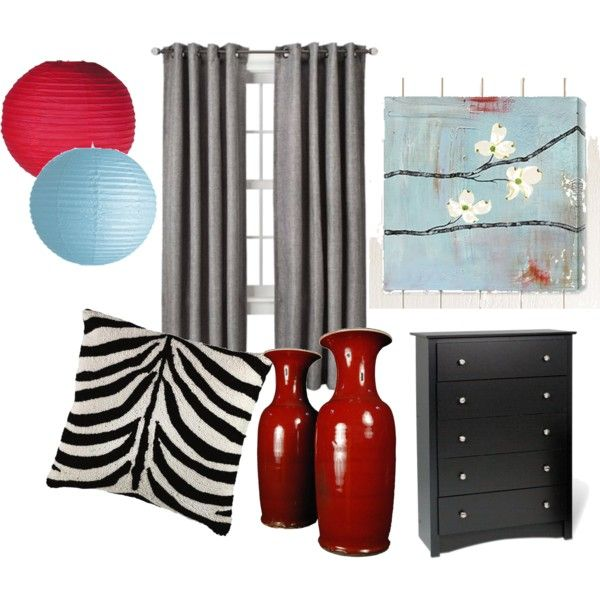 <3 my new master bedroom to be!!!, final concept red, light blue, black grey, zebra  pandastyle-821.polyvore.com