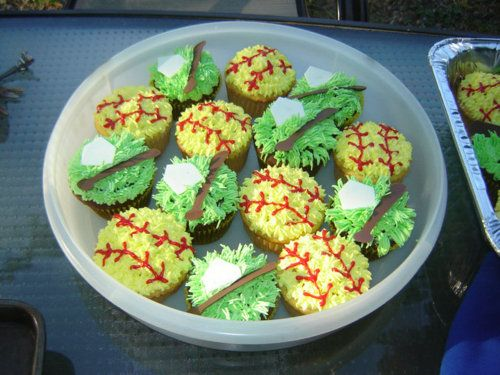 Treats for Softball team. Chocolate & vanilla cupcakes with butter cream icing and home-made chocolate plates and bats.