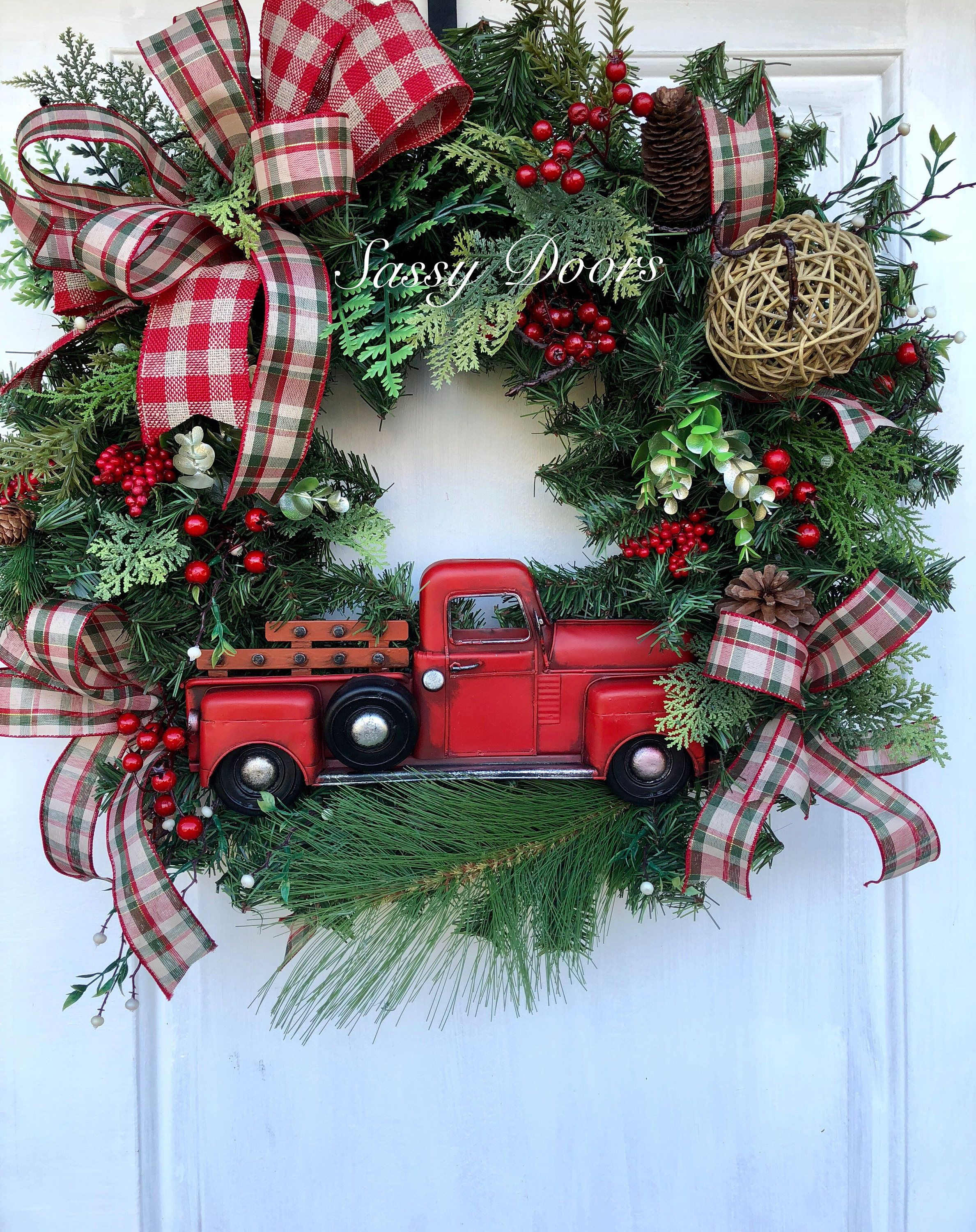 Red Truck Wreath Rustic Christmas Woodland Front Door