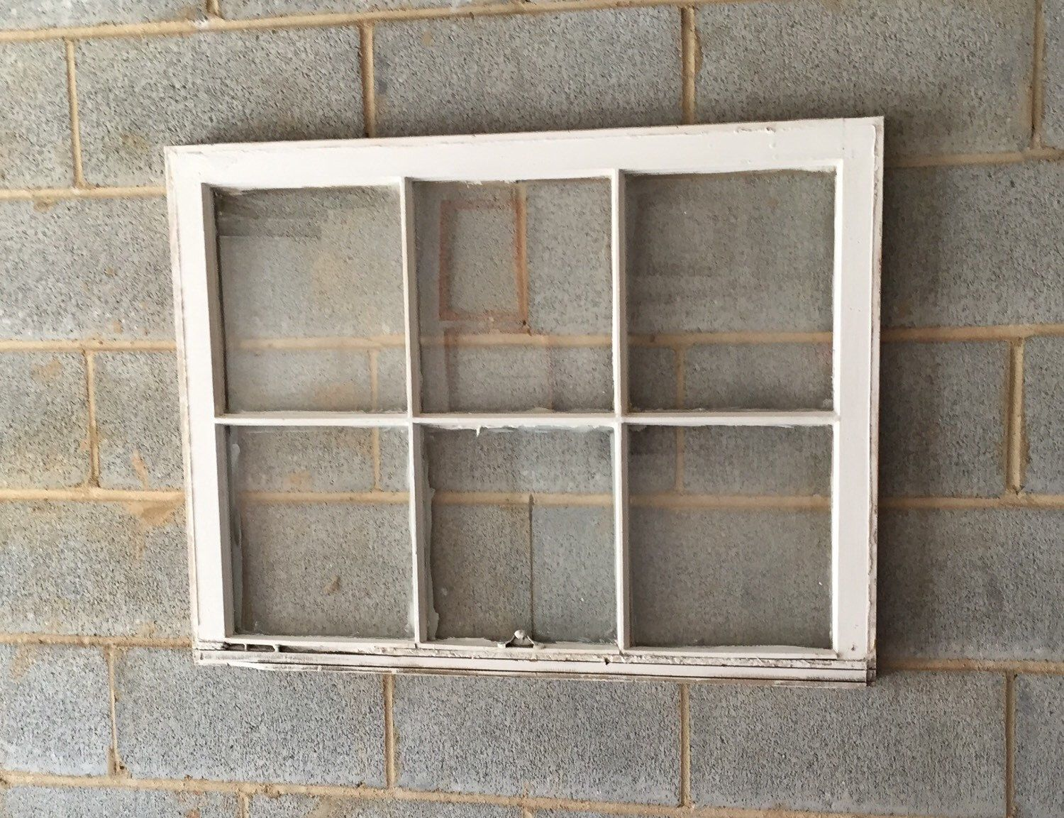 Vintage 6 Pane Window Frame - White, 36 x 27, Rustic, Wedding, Beach ...