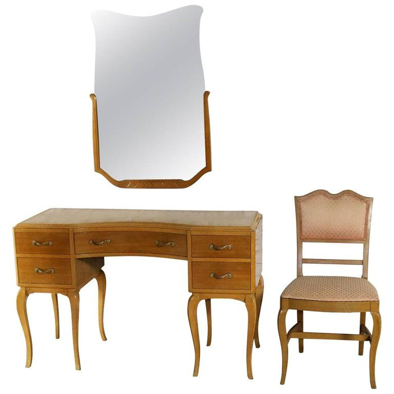 Art Deco Style Vanity Mirror And Chair