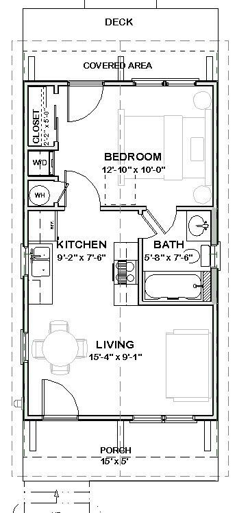Details about Tiny House Home Plans 1 bed Cottage 448 sf PDF file