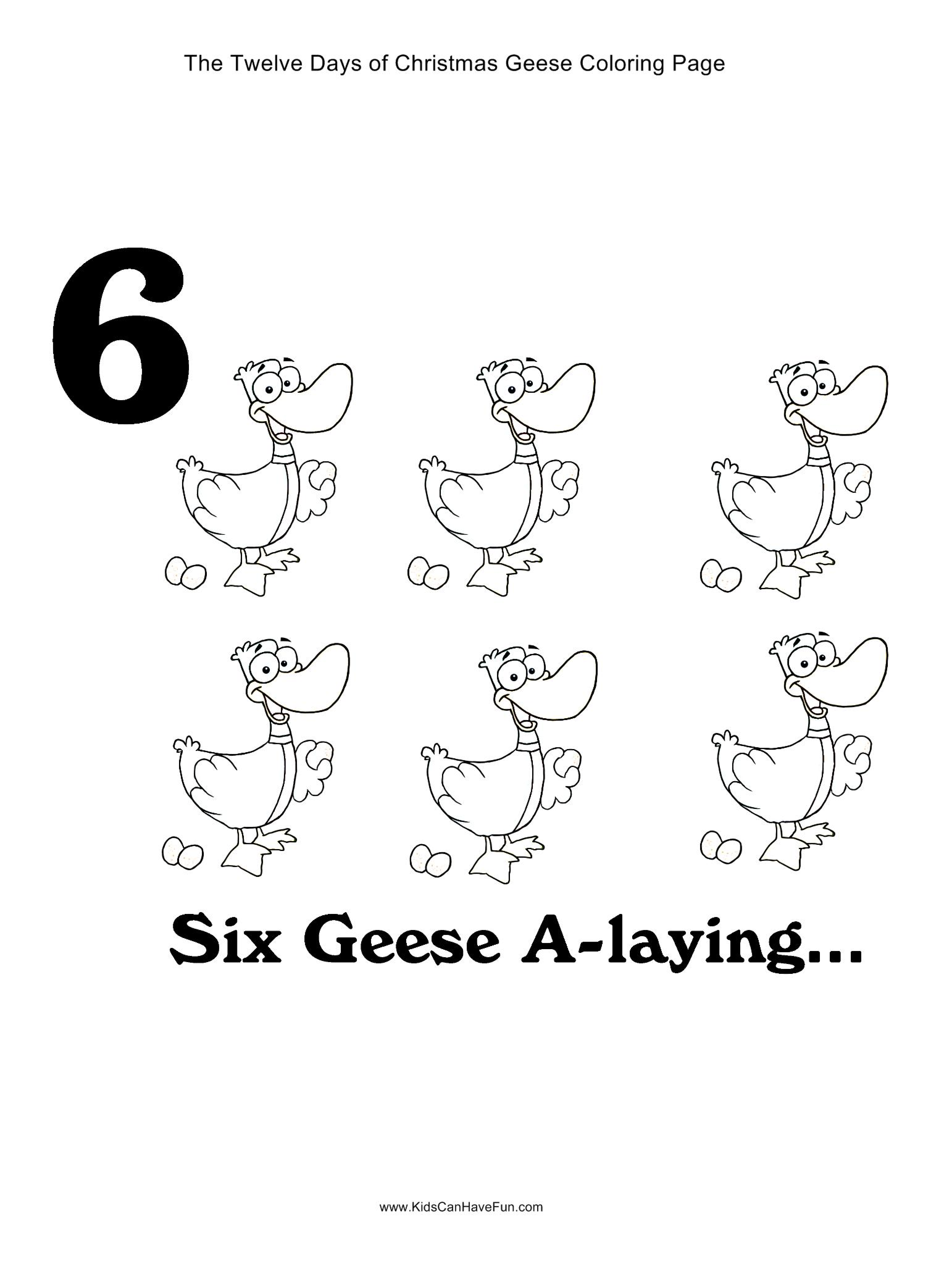 12 Days Of Christmas Six Geese A Laying Coloring Page