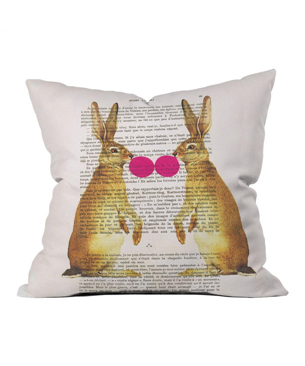 Rabbits u bubblegum throw pillow zulily kids room pinterest