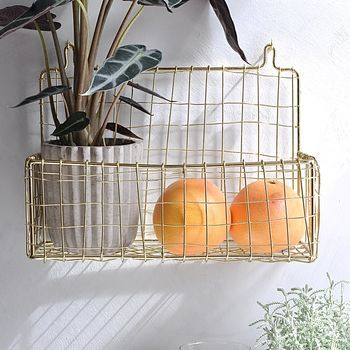 Wall Mounted Storage Basket, Gold Or Copper