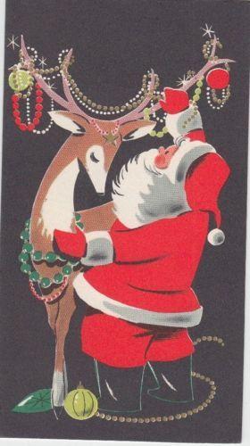 Vintage-Christmas-Mid-Century-Greeting-Card-Rudolf-Santa-Claus
