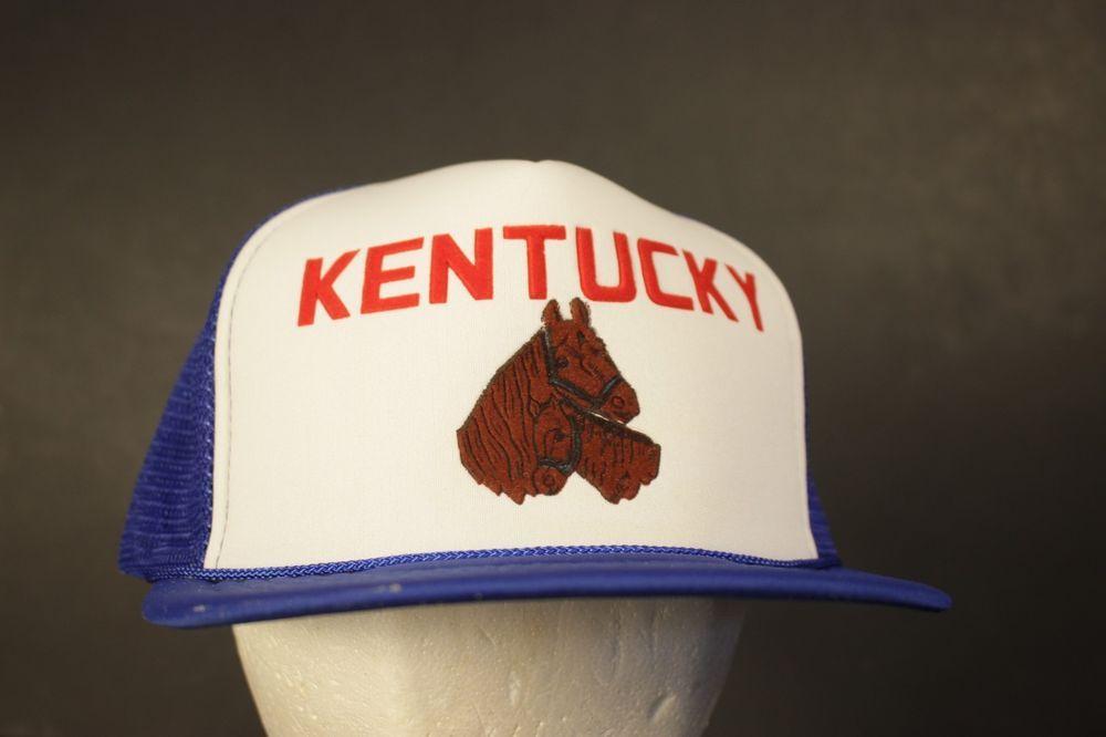 5af05b3190b Kentucky Horse Mesh Trucker Hat Cap Snapback Blue White Foal Retro One Size   HaT  Trucker