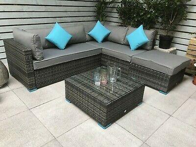 Outdoor Rattan Corner Sofa Set Garden Furniture Patio Grey ...