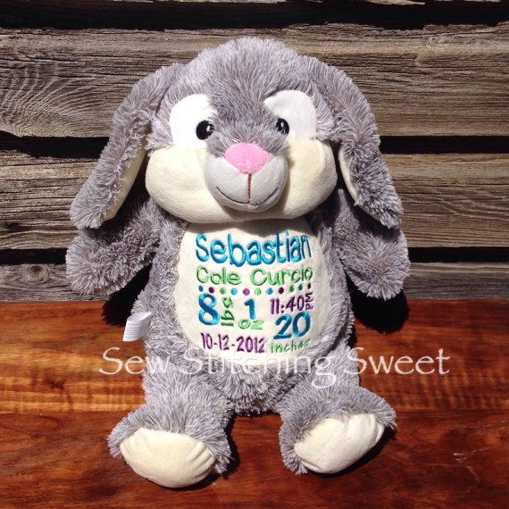 Personalized stuffed bunny stuffed animal bear birth information personalized stuffed bunny stuffed animal bear birth information stuffed animal by sewstitchingsweet2 personalized baby giftsstuffed negle Images