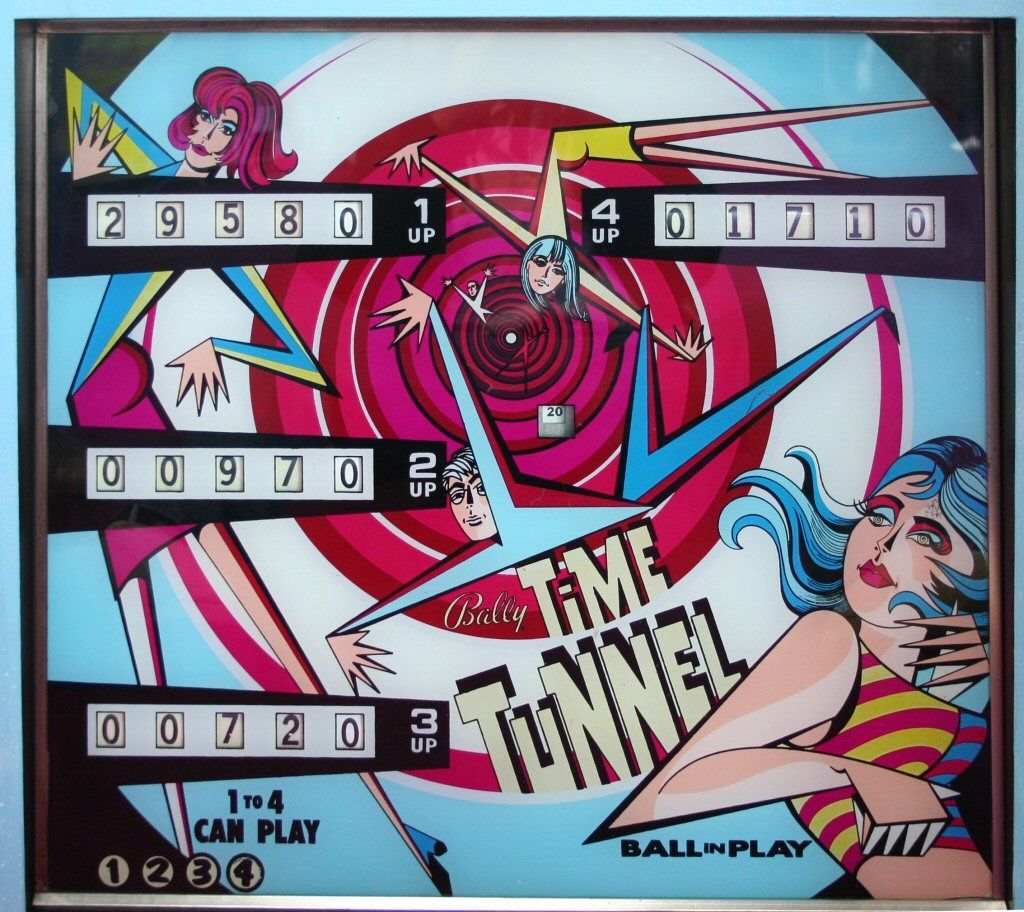 Time Tunnel pinball machine backglass made by Bally