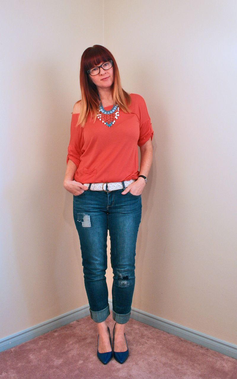 Orange coral blue beaded necklace