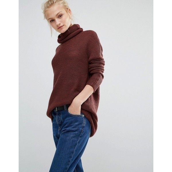 Vero Moda Oversized Rollneck Jumper ($42) ❤ liked on Polyvore featuring tops, sweaters, brown, over sized sweaters, vero moda sweater, longline sweater, brown tops and oversize sweater