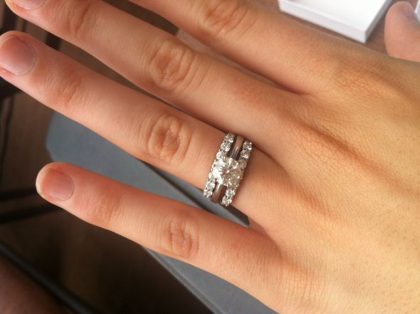 so i found this picture online and was thinking about getting an infinity wedding band to go with my round solitaire - Solitaire Engagement Ring With Diamond Wedding Band
