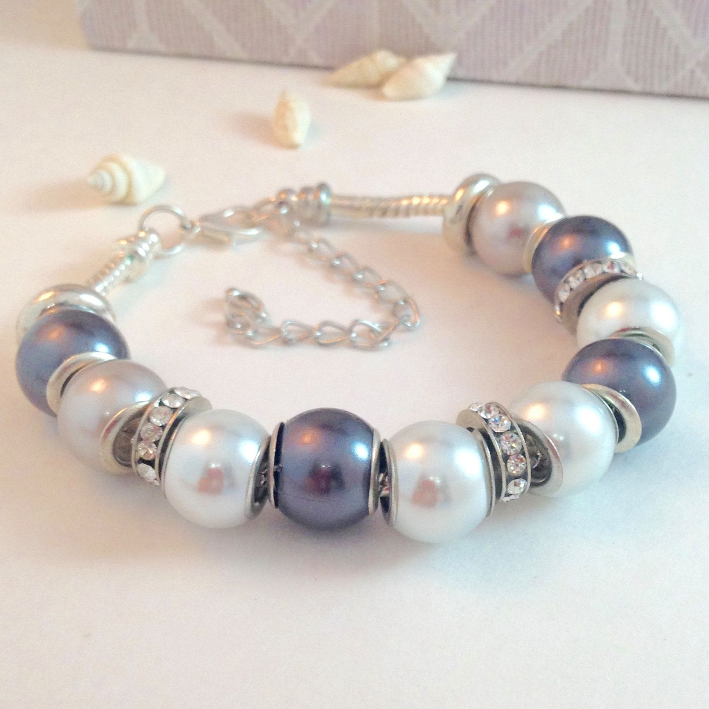 Beaded Bracelet, Pearl Bracelet, Bridal Bracelet, Bridesmaid Gift, Pearls, European Charm Beads, Large Hole Beads by BeadGlitzy on Etsy