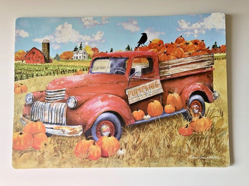 Red Truck Pumpkins Placemats Set Of 4 Vinyl Fall Harvest