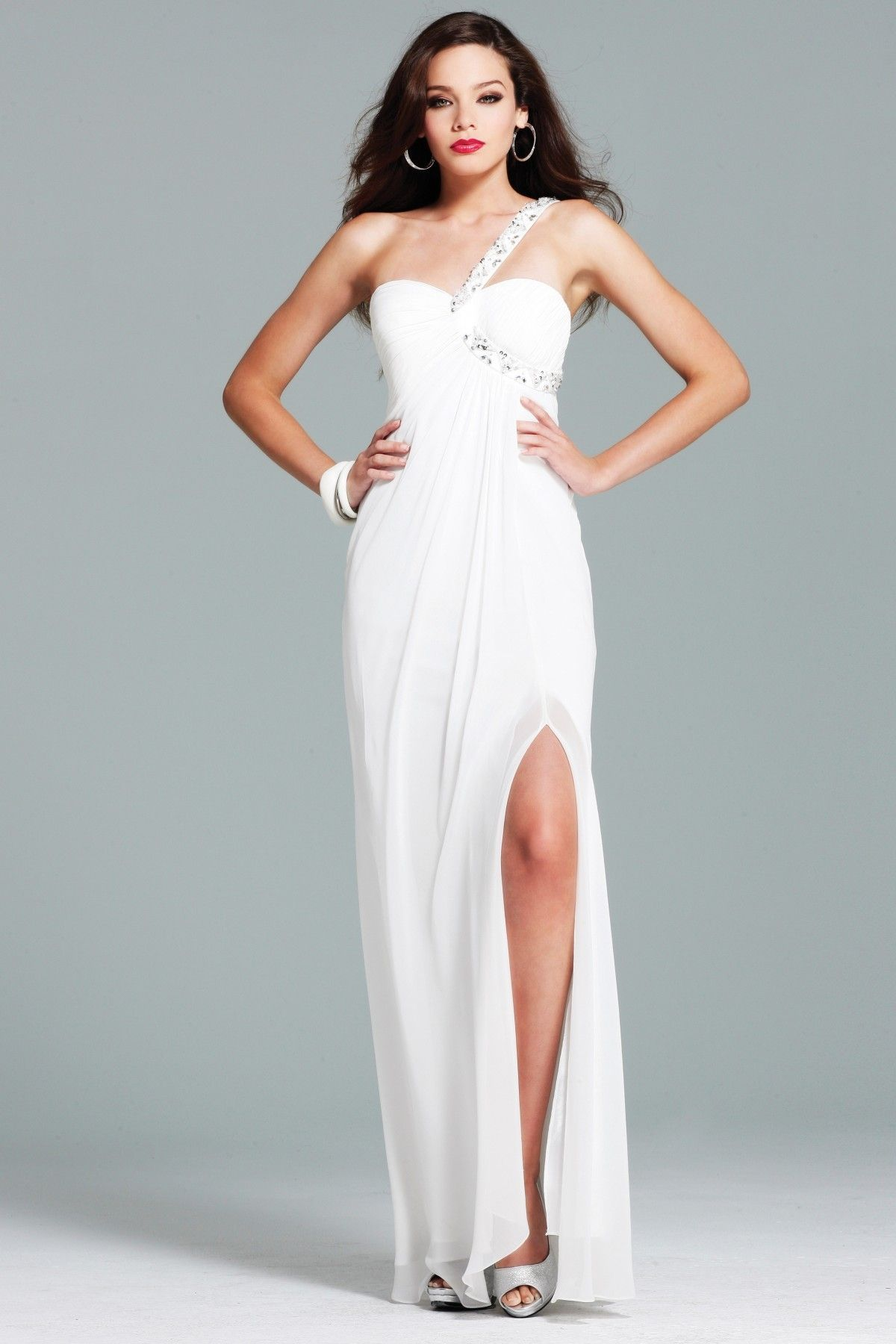 Sexy white prom dresses sexy empire one shoulder neck tea