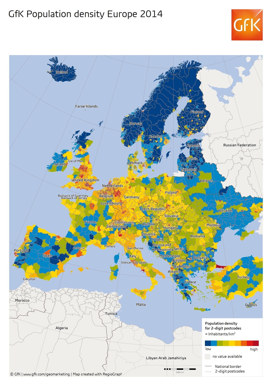 Gfk Population Density Europe 2014 Tortenelem Es Utazas