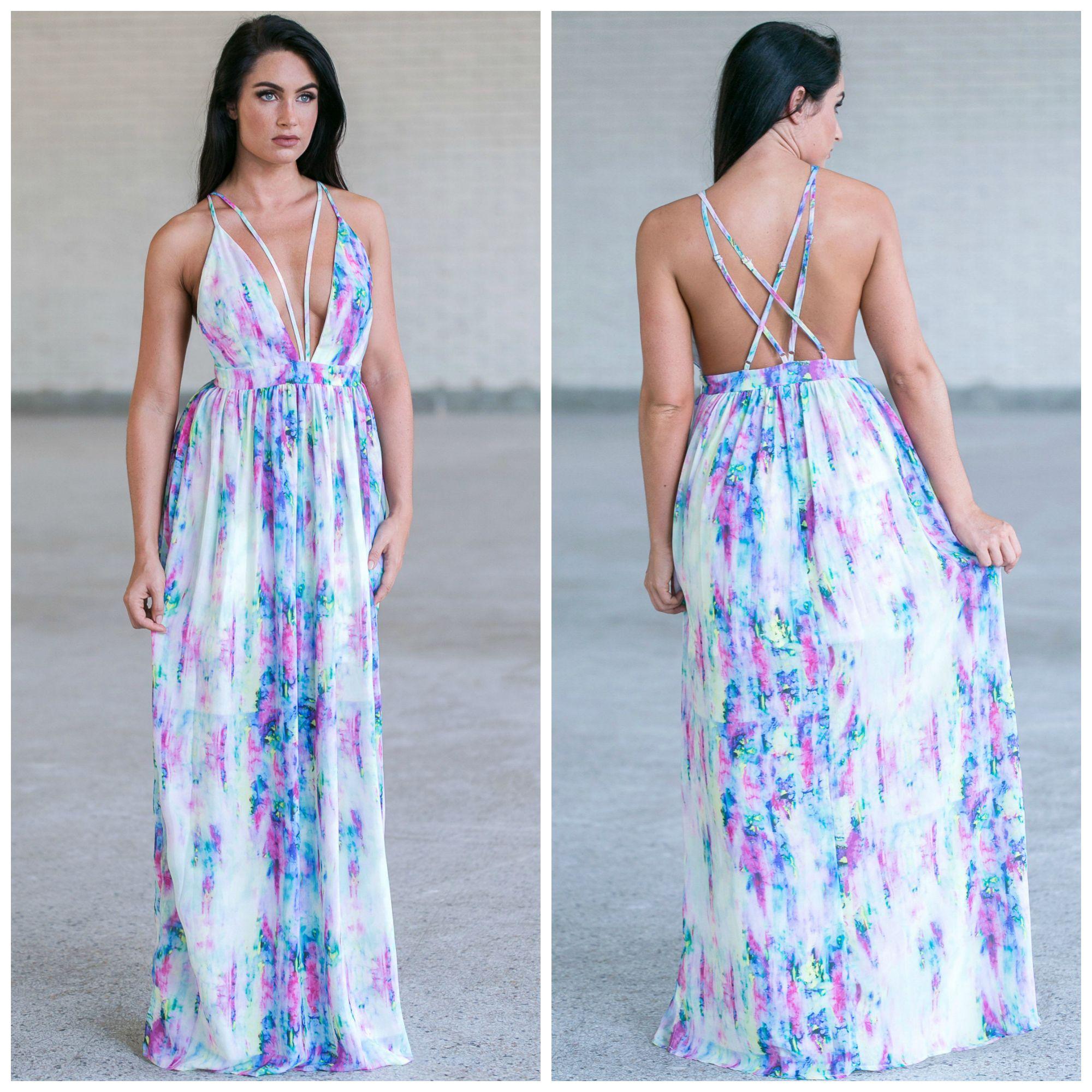 This maxi dress has a bright watercolor print ssa