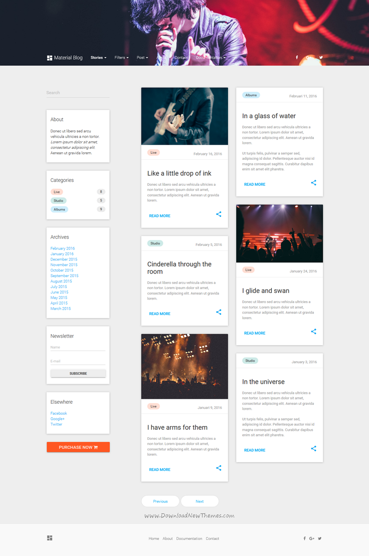 Material Blog is a Google Design inspired lightweight 6 in 1 ...