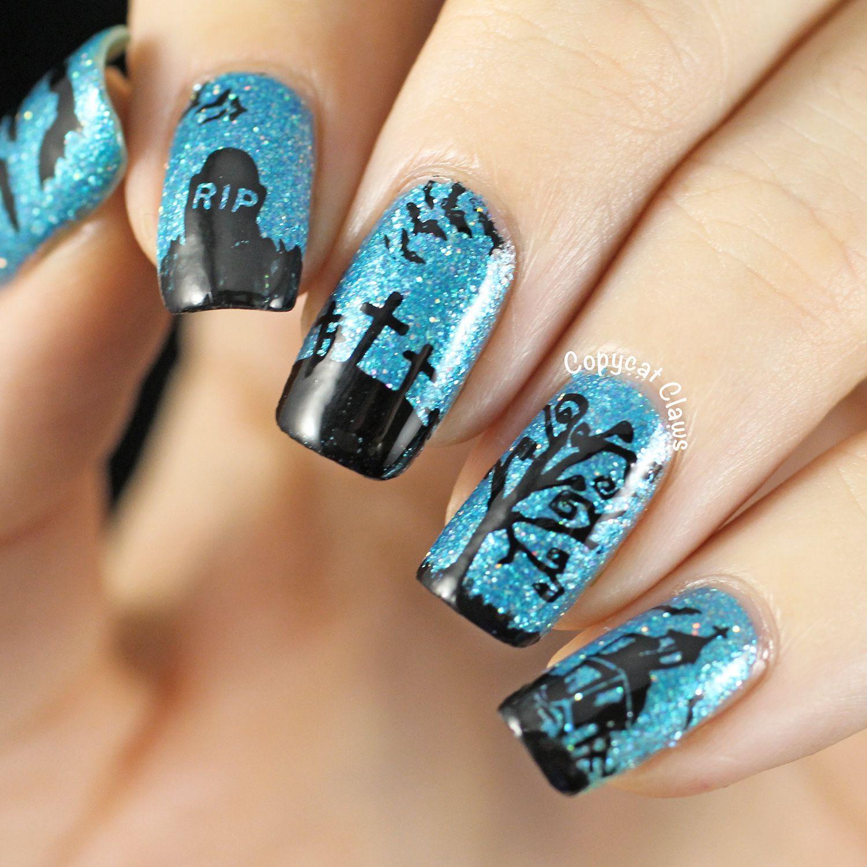 50 spooktacular halloween nail art ideas graveyards october 50 spooktacular halloween nail art ideas prinsesfo Gallery