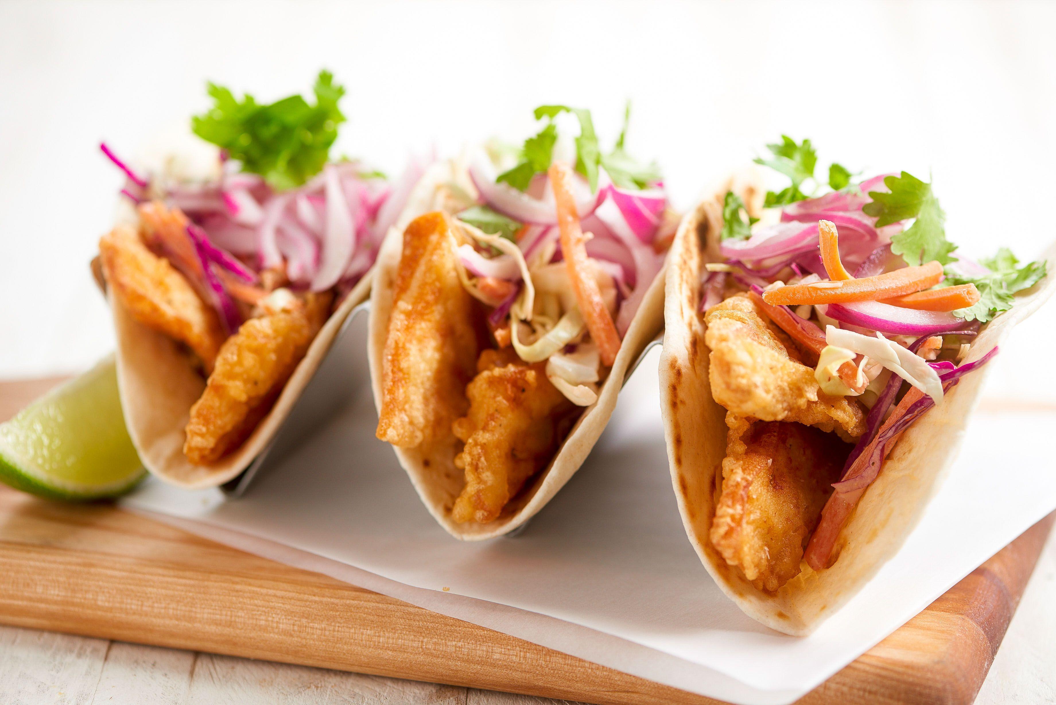 Baja Fish Tacos with Sriracha slaw and pickled onion
