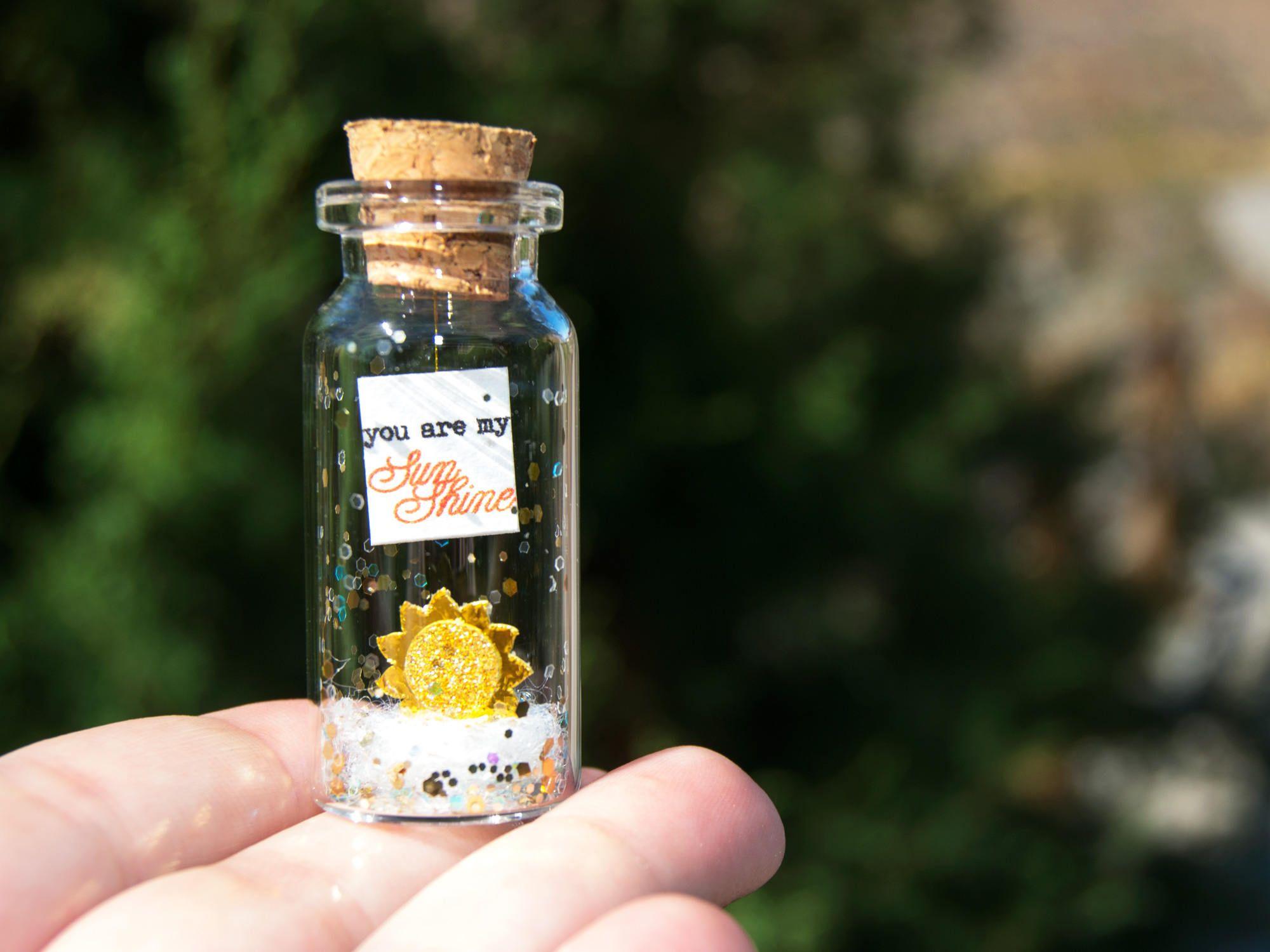You are my SunShine. Te quiero. Mensaje en una botella. Miniaturas. Regalo personalizado. Divertida postal de amor. de EyMyMessage en Etsy