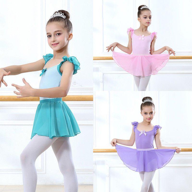 5dd83a73c Girls Gymnastics Dance Wear Chiffon Ballet Leotard Skirt Tutu Dress ...