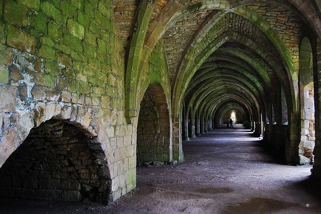 Moss covered arches at Fountains Abbey, Ripon, England, GB