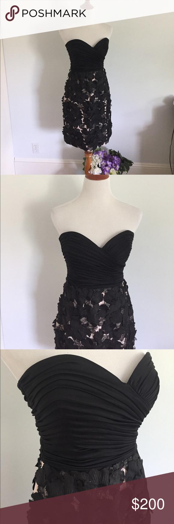 Strapless black dress with d floral skirt nwt strapless black