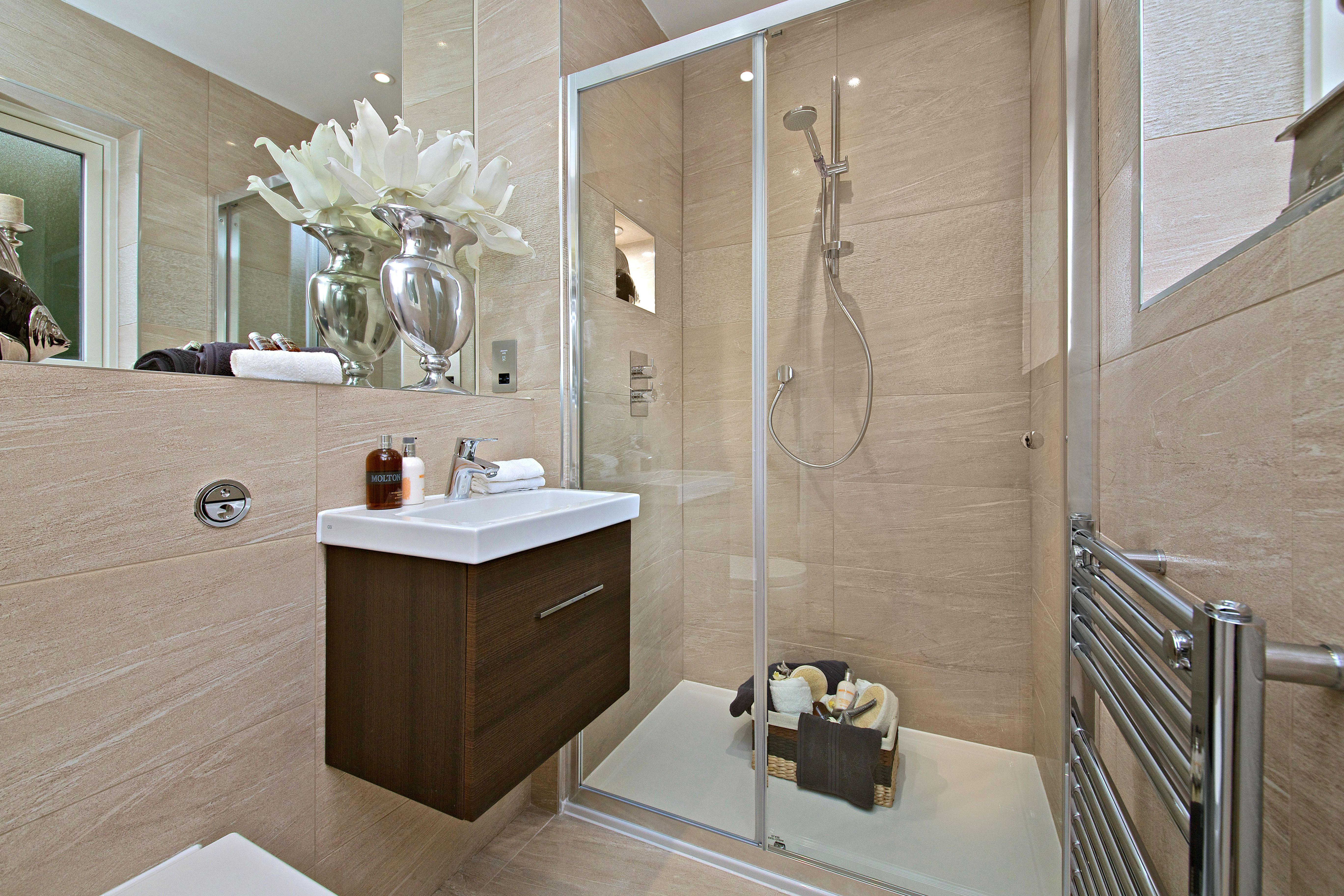 Ensuite Shower Room with Italian Porcelain Tiles with Textured