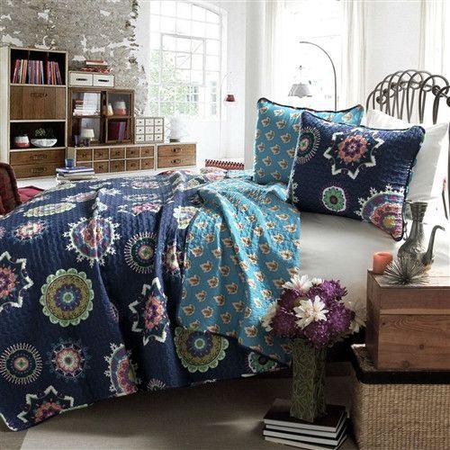 Full / Queen Navy Blue Paisley Geometric 100% Cotton 3 Piece Quilt Coverlet  Bedspread Set