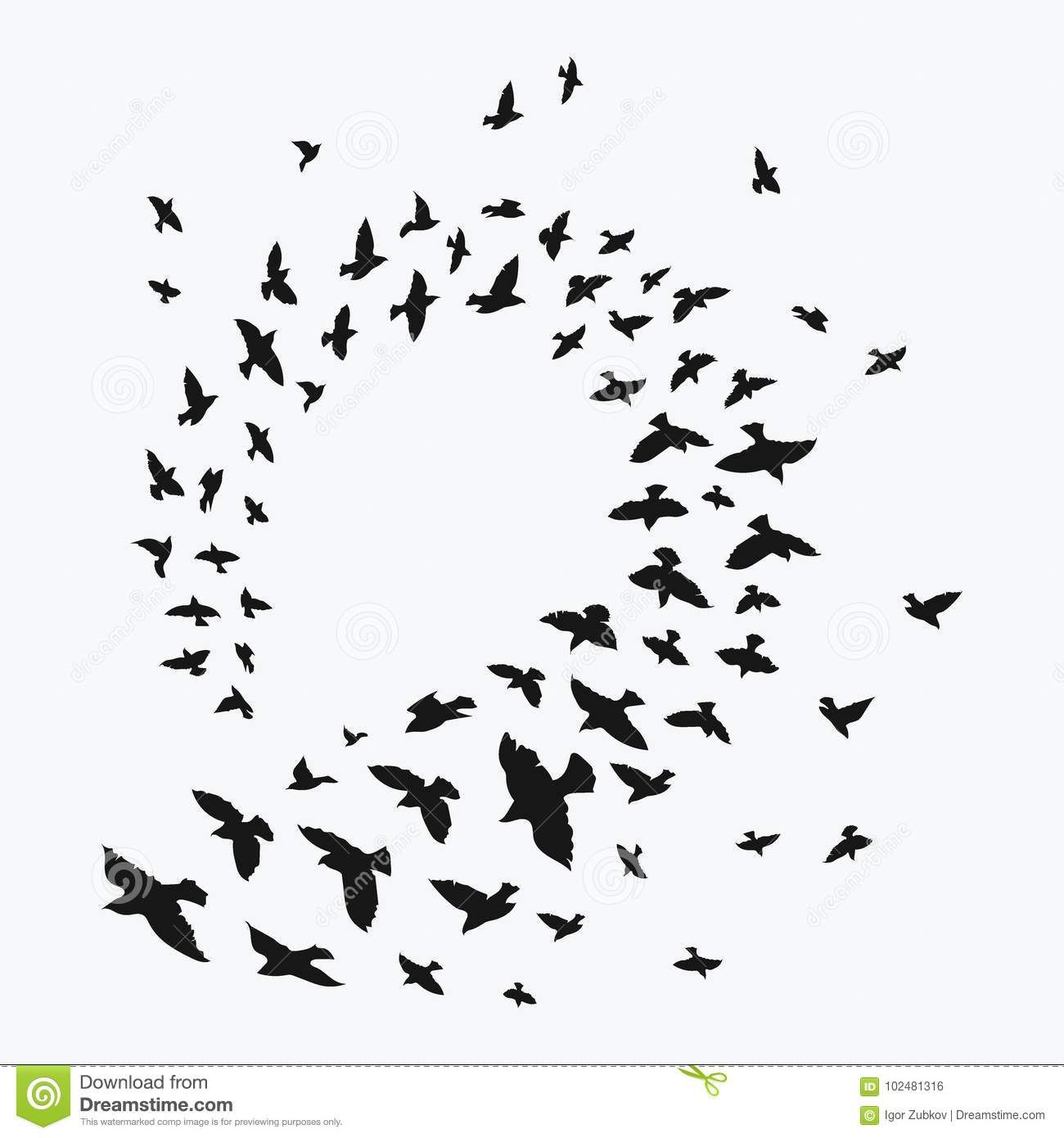 Silhouette Of A Flock Of Birds Black Contours Of Flying Birds Flying Pigeons Tattoo Stock Vector Illustrat Birds Flying Flock Of Birds Flying Bird Tattoo
