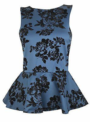 New Look Flocked Peplum Christmas Party Top Size 10 12 14 16 18 RRP £19.99 @ £8.99