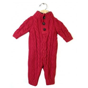74de7e9f9 Baby Gap Red Cable Knit Sweater One-Piece Romper - Size-0-3M ...