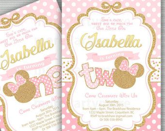 Pink And Gold Minnie Mouse First Birthday Party Invitation