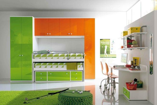 Awesome Space Saver Idea Kids Bedroom Designs Bright Kids Bedroom Kids Bed Design Modern green ergonomic kids bedroom