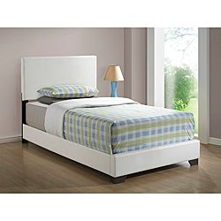 overstockcom white leather look twin size bed these white twin