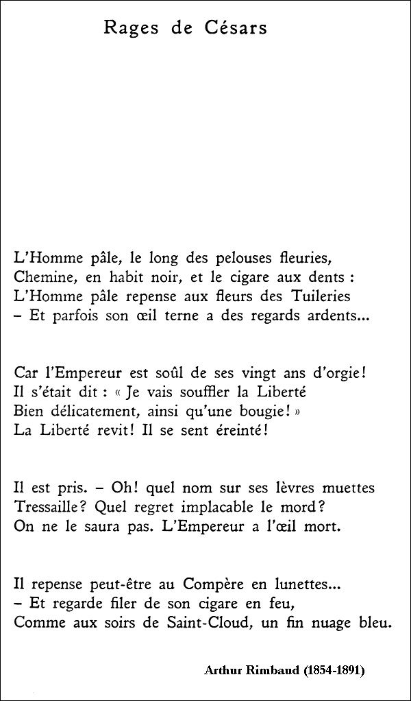 Arthur Rimbaud Rages De Césars Poeme Et Citation