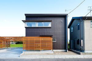 ガルバリウムと木を組み合わせたおしゃれ外壁の家の画像集 木目 紺 黒