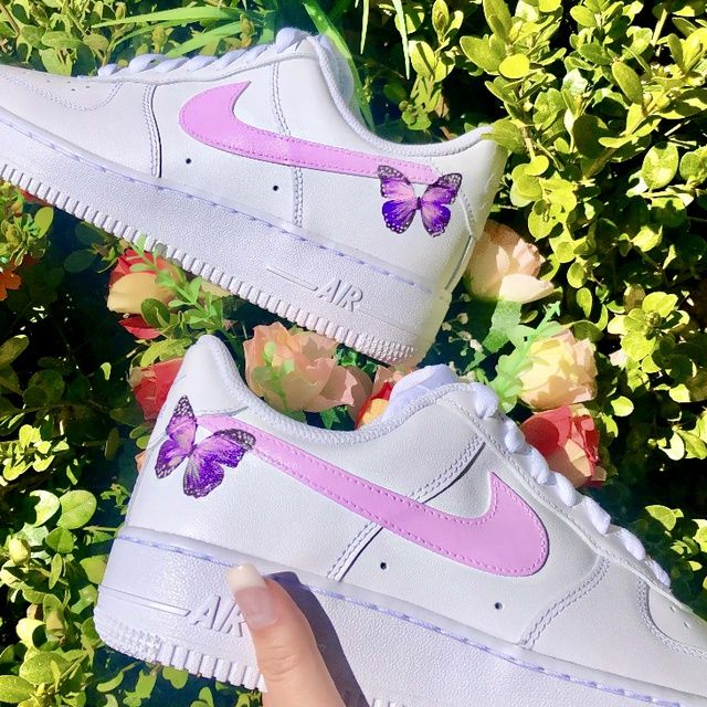 PINK & LAVENDER BUTTERFLY NIKE AIR FORCE 1🦋💖 THE CUSTOM